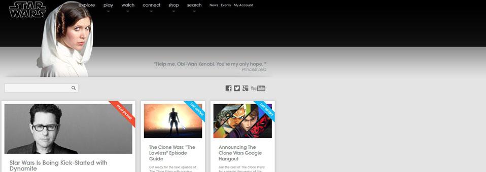 Cambia el home del sitio oficial de Starwars.com