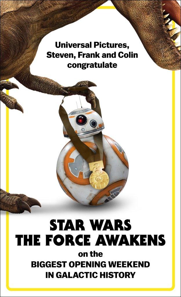 Star Wars: El Despertar de la Fuerza la más taquillera de la historia